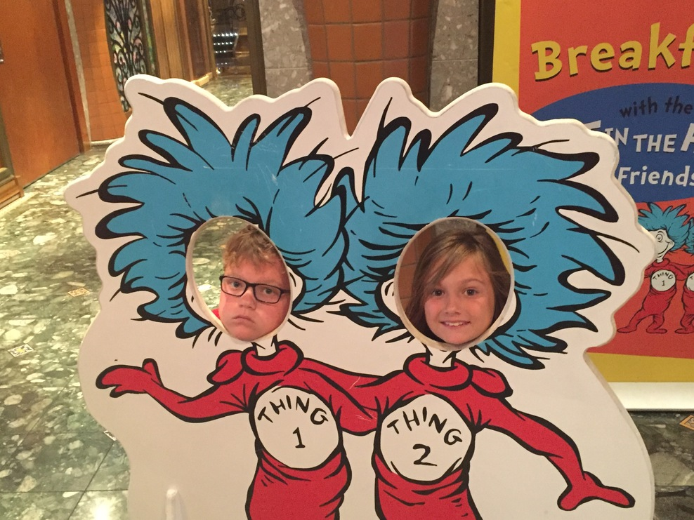 Thing photo opportunity at entrance to Dr. Seuss Breakfast on Carnival Libe