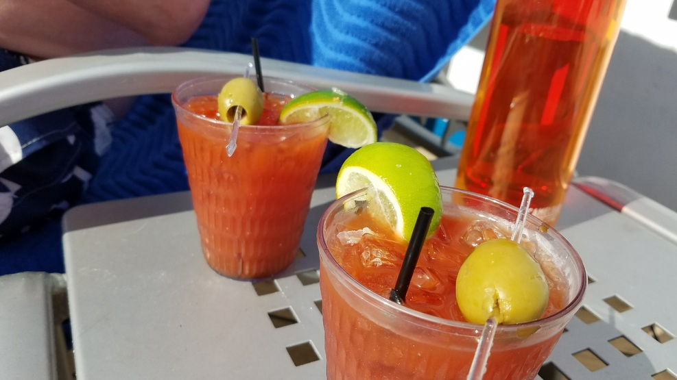 Bloody Marys from the Red Frog Rum Bar on the Lido deck