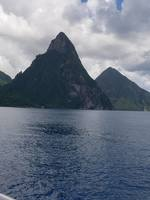 The great Pitons, somewhere on the ocean