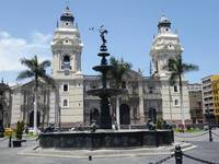 Lima town square with Basilica Cathedral of Lima.