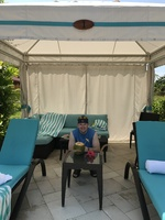 Pool Cabana we rented in Harvest Caye