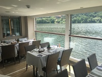 The Dining room with open windows, unique on viking