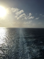 Sunset at back of ship