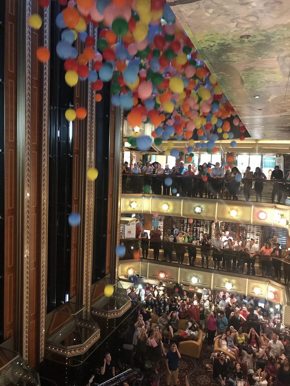 Balloon Drop with notes in balloons of how much you enjoyed the cruise.