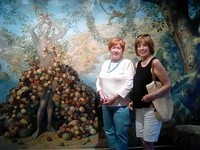 Judie and I in a beautiful part of the ship. You can hear the birds sing.