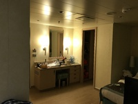 "Spa cabin desk/dressing area from the sitting area.  There is a ""walk-i"
