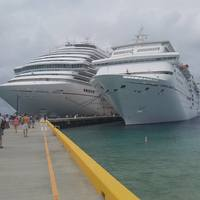 The Carnival Magic and the Carnival Sensation docked at Grand Turk.