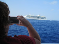 Looking at all the other ships in the port of Cozumel.