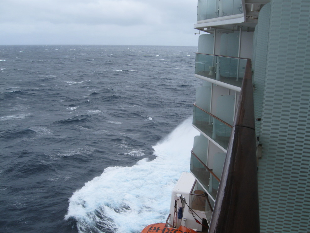 Rough seas between Bermuda and Portugal, first full day at sea.