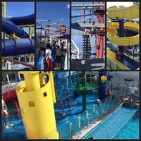 Water slides, rope course and kids pool area