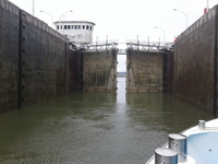 Travelling through a lock.