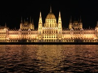 Budapest Parliament on evening cruise.