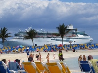 cruise ship view from Coco Cay