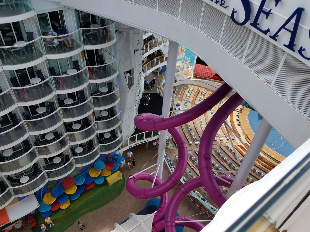 Looking down over the Boardwalk and Abyss slide.