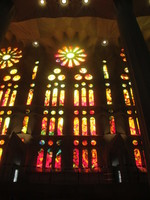 Stained glass of Sagrada Familia in Barcelona, Spain