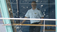 Captain Holm on the bridge.  He gave daily updates about what to expect, e.g. weather, seas today and for the next few days.