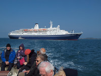 Tendering ashore from Marco Polo at St Mary's. Less able passengers wou