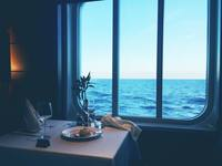 Picture taken within the main restaurant from window overlooking the sea