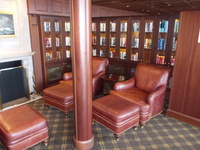 The ship's library. Just one of several areas for a quiet read.