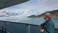 Hubbard Glacier shown from our aft verandah deck. Lots of iceberg chips. It