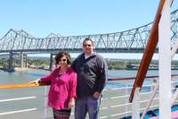 Standing on the Panorama Deck in New Orleans shortly after boarding waiting