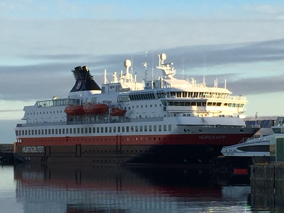 Our ship in port. Excellent lounge top forward and full walk around deck at