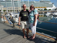 Sue and I in Vigo, Spain. The 'Navvy' in the background.