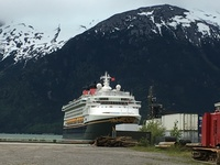 Disney Wonder docked in Skagway.
