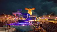 The lido deck at night.