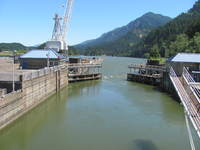 The first lock, Bonneville Dam.