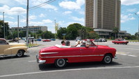 Some people chose an old convertible for their shore excursion in Havana