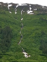 A waterfall in Juneau
