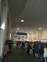 embarkation lineup, football fields in length!