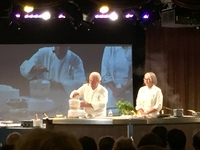 A great cooking demonstration from Jacque Pepin in the main theater.