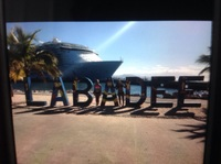 Labadee, at the sign for Labadee