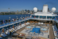Seattle sail-away view of pool deck and band