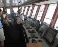 A photo taken on the bridge.  The second officer explained the dutiesof the