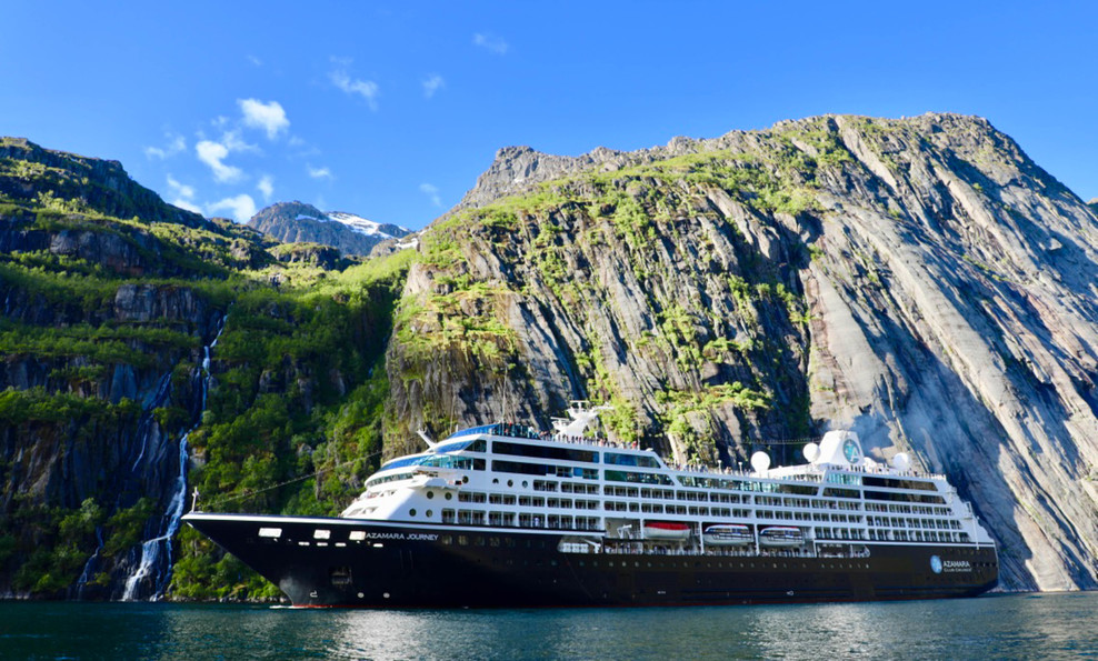 Ship sailing through the fjords