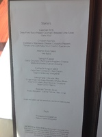Menu in the dining room on embarkation