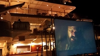 Movie night out on deck ! Popcorn delivered   :)