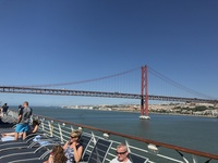 View of bridge in Portugal from ship