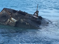 Sunken ship (HMS Vixon) in Bermuda where coral and fish can be found