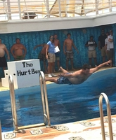 Participating in the belly flop contest, look at how nice and flat I was; I