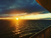 Sunset the first evening on board! 