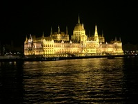 Budapest at night as seen while sailing in on the Danube.
