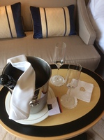 Welcome champagne in cabin