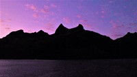 The mountains of Waya Island, Fiji from Nalauwaki Bay at sunrise. The peaks