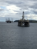 Oil rigs in for repair at Invergorden