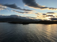 View from the veranda:  Sunrise and a calm sea as we cruised into Reykjavik
