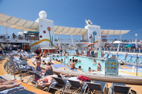 This was one of the small pools.  As you can see it wasn't busy when we were in port.  However it was shoulder to shoulder when at sea.  The Salt Water and the children's pools were the only cool pools on the ship...all the rest were hot.